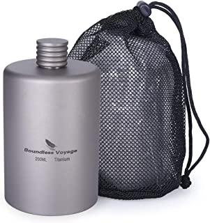 Boundless Voyage 200ml Portable Titanium Pocket Flagon Camping Alcohol Drink Bottle Flask Ultralight Outdoor Sport Hip Fla...