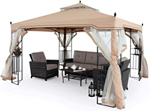 MASTERCANOPY 10x12 Double-Tiered Patio Gazebo with Mosquito Netting Screen Walls for Lawn, Garden, Backyard and Deck, Beige