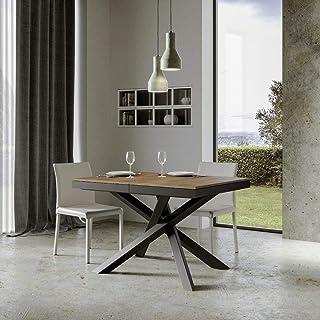 Itamoby, Table extensible Volantis Evolution 120->380 cm, plateau en noyer et cadre en anthracite L.120 x P.90 x H.77 (ext...