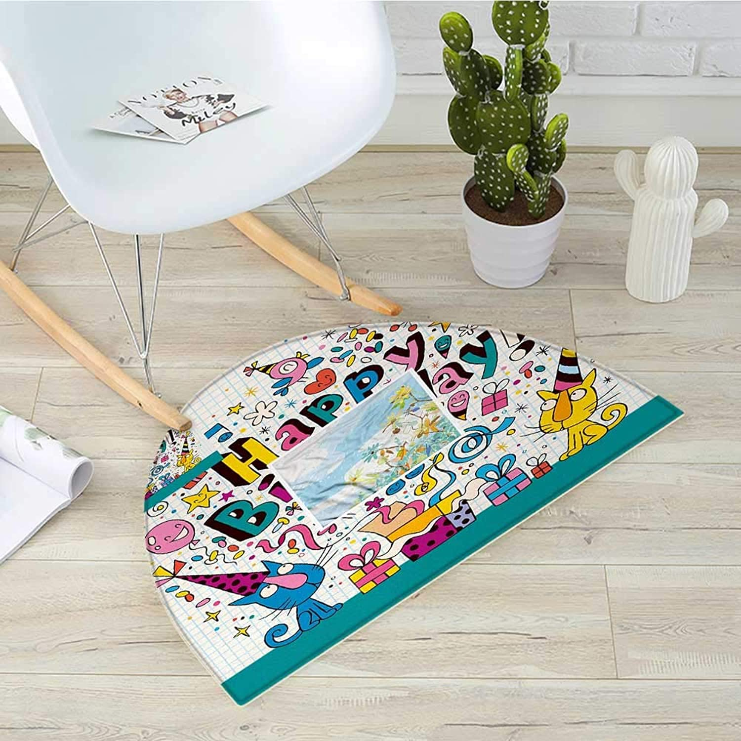 Kids Birthday Semicircle Doormat Math Note Pad Inspired Design Cartoon Style Animals Cats Present Image Halfmoon doormats H 39.3  xD 59  bluee and White