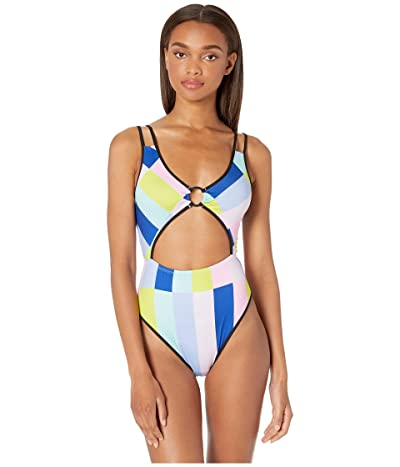 THE BIKINI LAB Prism Stripe High Leg One-Piece (Multicolored) Women
