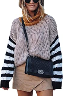 Angashion Women's Oversized Sweaters Casual Turtleneck Chunky Waffle Knit Baggy Pullover Sweater Tops