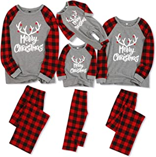 IFFEI Matching Family Pajamas Sets Christmas PJ's with Letter and Plaid Printed Long Sleeve Tee and Pants Loungewear