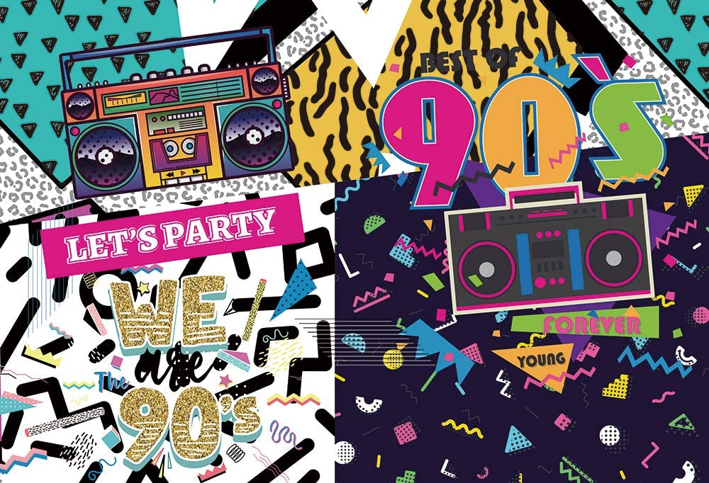 HUAYI 8x6ft 90s Themed Party Backdrop for Hip Hop Rock Music Dance Disco Colorful 90s Adult House Birthday Party Event Banner Decorations Photo Background photocall Studio Booth Shoot Props w-2188