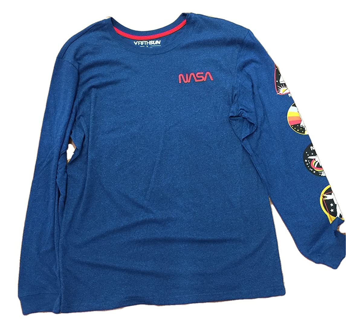 NASA Worm Spaceman Space Men's Long Sleeve Double Sided Tee