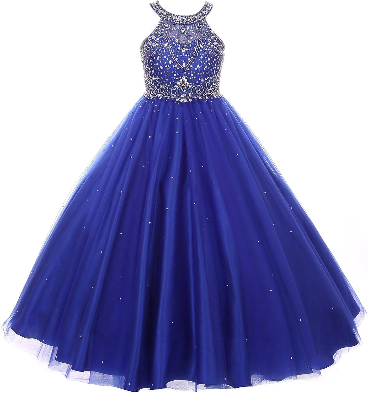 CrunchyCucumber Halter Style Rhinestones Sequins Bodice Tulle Skirt Girl Dress