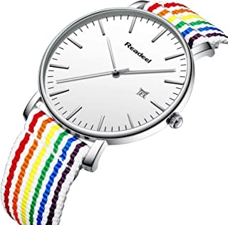 Youwen Rainbow/Gray Stripe Nylon Band Analog Quartz Men Watch Canvas Strap Women Watches with Calendar