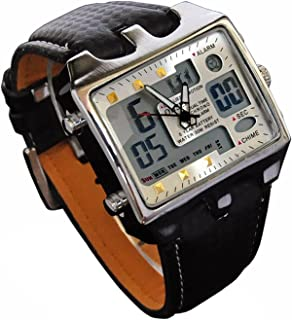 Mens Referee Sports Watch Big Square Face LED Dual Time Analog Digital Light Up Dial Stopwatch Leather Band Relojes Deportivos de Hombre Cronometros Wacht Hombre OH-112