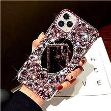 Compatibel met iPhone 11 Pro Max, glanzende glitter, bling, strass, make-up spiegel, telefoonhoes TPU siliconen hoes besch...