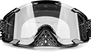 BATFOX ATV Goggles Dirt bike Motocross Riding Motorcycle Glasses Goggles Interchangeable Lenses for Men Women Youth Fit Over Glasses Detachable Nose Guard (Clear)
