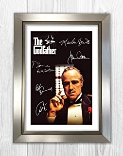 Engravia Digital The Godfather Reproduction Signed Film Poster Starring Marlon Brando A4 Print(Silver Frame)