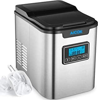 Aicok 26lb Portable Ice Maker Machine for Countertop, Stainless Steel, Ice Cubes ready in 6 Minutes, 26lb Ice per 24 Hrs, Self-clean Function, LCD Display, Ice Scoop&Basket, Perfect for Cocktail Party