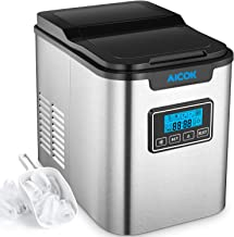 Aicok Portable Ice Maker, 26lbs Stainless Steel Countertop Ice Machine with Self-clean Function, 9 Ice Cubes ready in 7 Minutes, 26lbs Ice per 24 hours, 2 Qt. Water Tank, LCD Display & Ice Scoop