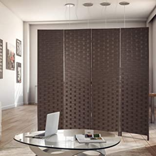 Room Divider Wood Screen 4 Panel Wood Mesh Woven Design Room Screen Divider Folding Portable Partition Screen Screen Wood for Home Office (Brown)