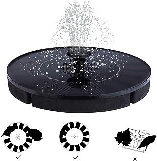 OCGIG LED Lights Solar Powered Fountain 150L/h Water Pump 2.4W Solar Panel Night Floating Bird Bath for Garden, Patio, Pon...