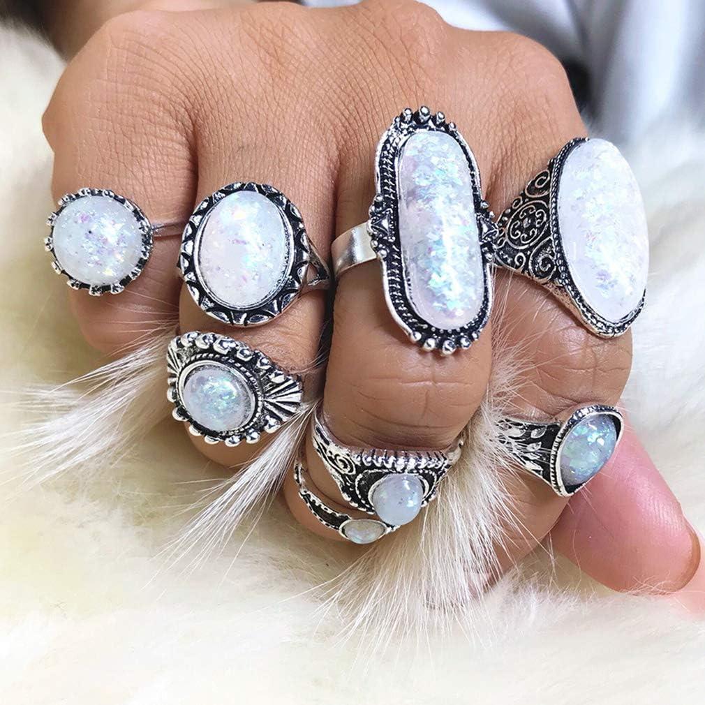 GloryMM 8Pcs Vintage Boho Opal Stone Midi Finger Knuckle Rings Stackable Rings Fashion Women Jewelry Gift