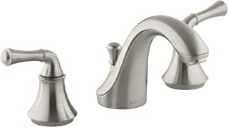 KOHLER K-10272-4A-BN Forte Widespread Lavatory Faucet with Traditional Lever Handles, Vibrant Brushed Nickel