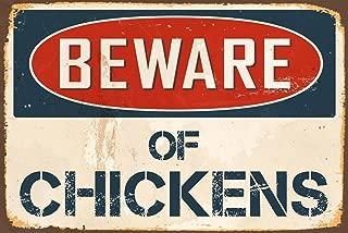 "StickerPirate Beware Chickens 8"" x 12"" Vintage Aluminum Retro Metal Sign VS465"