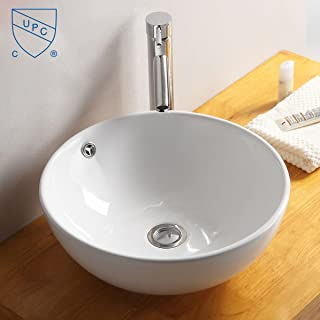 White Round Ceramic Bathroom Kitchen Vessel Sink Porcelain Vanity Above Counter Basin Bowl (Cl-1027)