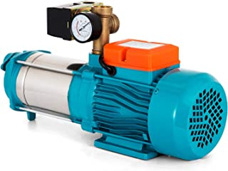 Moracle Bomba Centrífuga de Agua Motobomba de Agua Bomba Centrífuga 1300W Bomba Centrífuga de 5100 L/h Autocebante 5.1 Bar con Manómetro