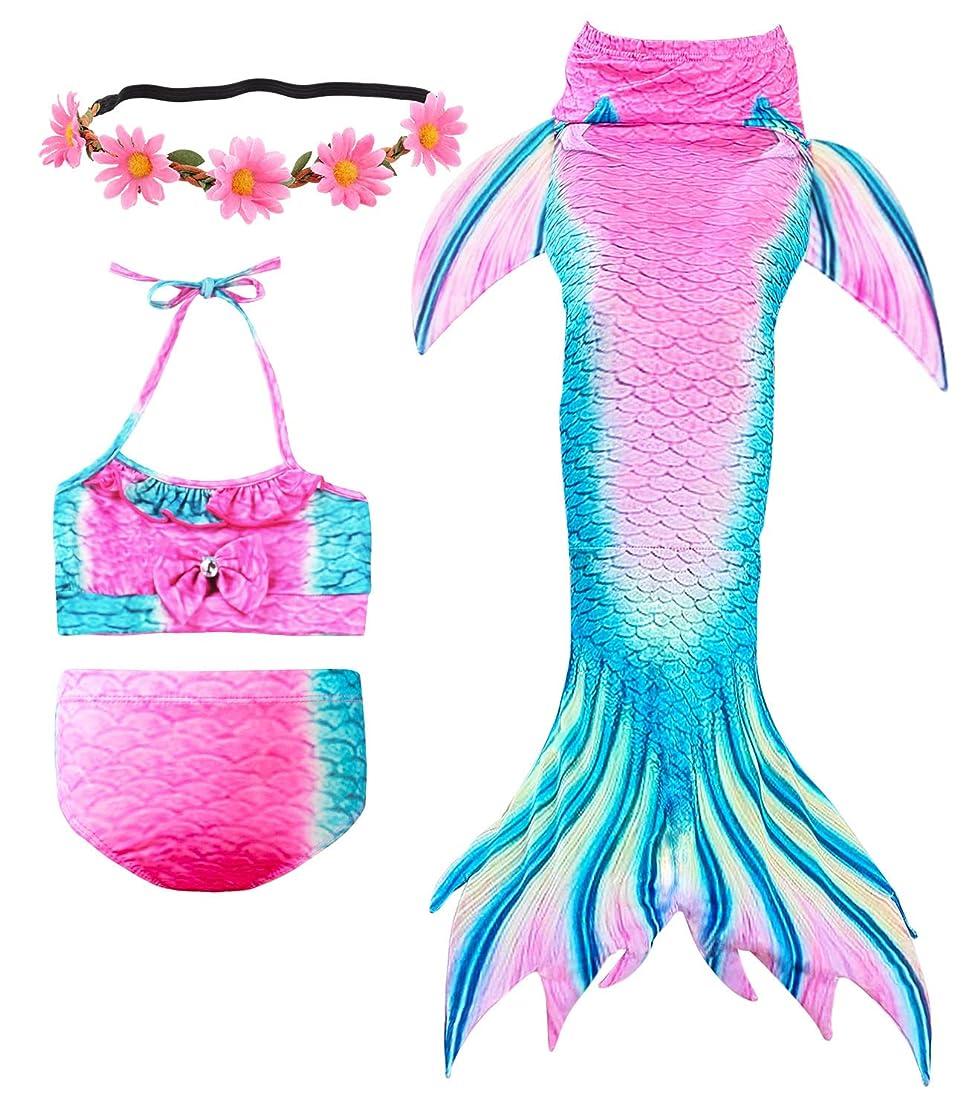 Newland 3 Pcs Girls Swimsuit Mermaid Tails for Swimming Princess Bikini Bathing Suit Set for 3-12Y hstwxptg2