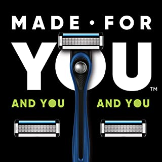 Made For YOU by BIC Shaving Razor Blades for Men & Women, with 2 Cartridge Refills - 5-Blade Razors for a Smooth Close Shave & Hair Removal, NAVY