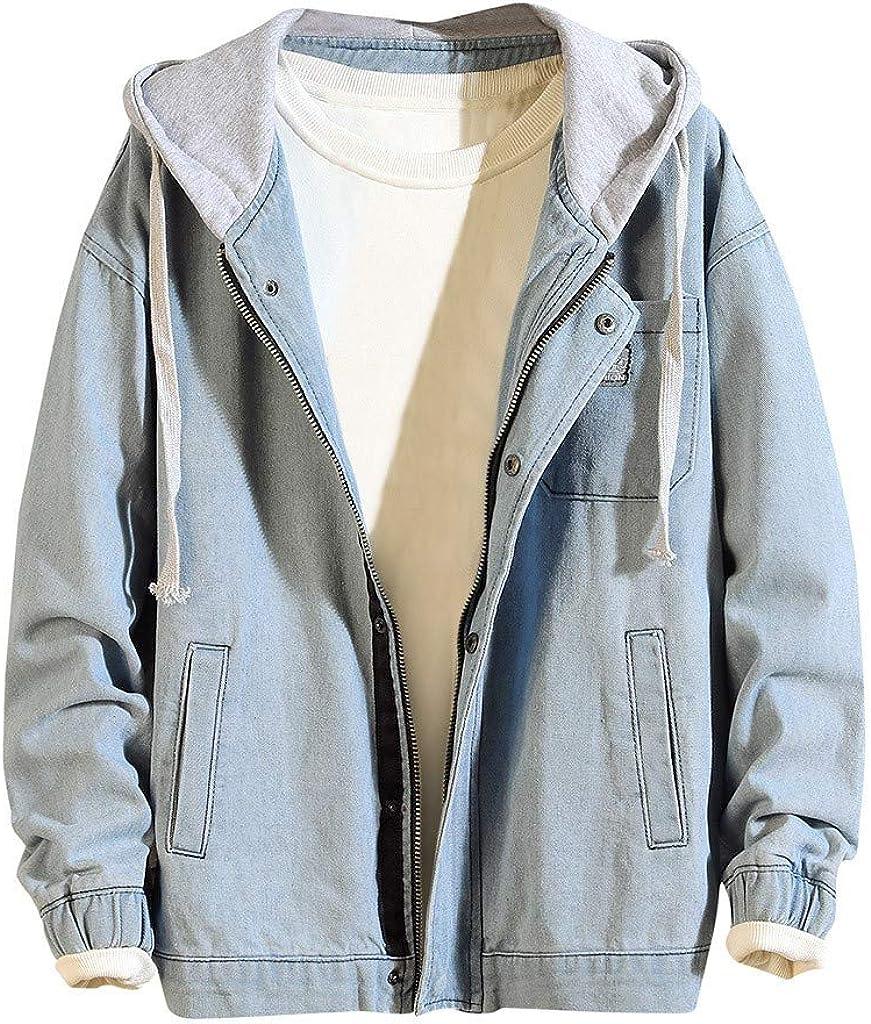MODOQO Men's Zipper Hoodies Jacket Long Sleeve Casual Loose Fit Denim Outwear Coat with Pocket