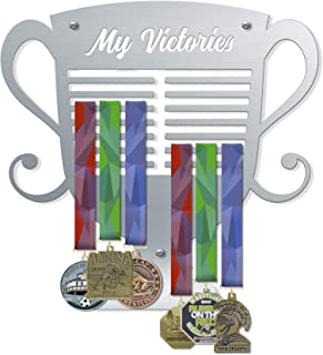 VICTORY HANGERS My Victories Trophy Style Medal Hanger | Wall Mounted Medal Holder | Displays Up to 80 Medals | Elegant Sports Wall Decals | Home Decor | Wall Decoration (V2)