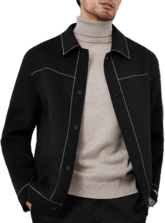 Mens Wool Jacket Autumn Winter Loose Casual Single Breasted Lapel Short 100% Woolen Coat