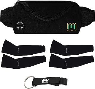 MEJAWDA Comfortable Running Waist Belt Bag Smart Phone Holder, Robust and Secure Fit Plus 2 x Pair UV Protection Arm Sleev...