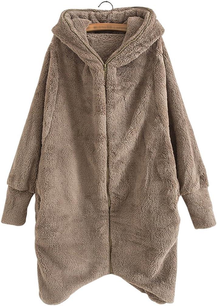 Yimoon Women's Double Fux Fur Winter Warm Hooded Coat Batwing Sleeve Zip up Loose Fleece Jacket