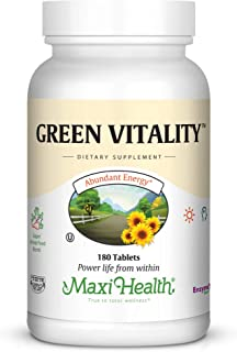 Maxi Health Green Vitality - Green Superfood - Energy and Mood Formula - 180 Tablets - Kosher