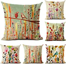Tebery 6 Pack Cotton Linen Throw Pillow Covers Flower Birds Decorative Sofa Cushion Covers - 18 x 18 Inches
