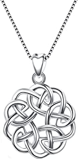 925 Sterling Silver Round Infinity Endless Love Celtic Knot Pendant Necklace for Women Girls