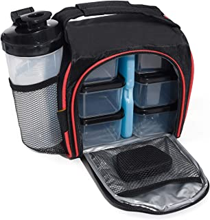 Homevalue Insulated Meal Prep Bag Lunch Box with 6 Portion Control Containers a Ice Pack a Shaker Bottle and a Pill Box Premium for Gym