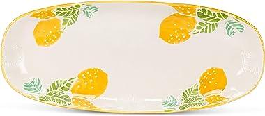 Abbott Collection 27-Meyer Fresh Lemon Oval Platter, Ivory/Yellow