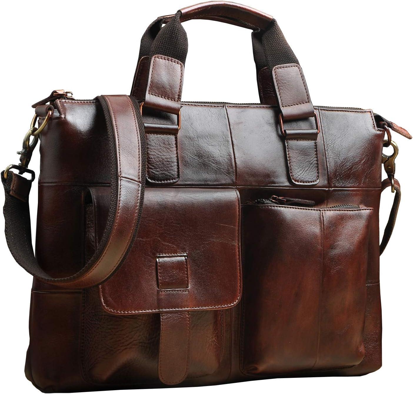 人気の製品 Le'aokuu Leather Mens Business Travel Best Case Laptop 出色 Portfolio