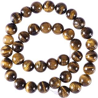 Healifty Perlas de ojo de tigre, piedras preciosas naturales, redondas, 12 mm, 32 unidades