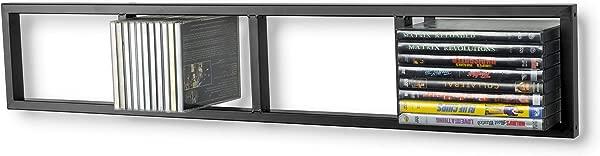 Modern Wall Mount Cd DVD Media Rack Storage Metal Shelf Organizer Black