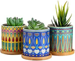 Dsben 3.5 Inch Succulent Plant Pots, Small Mandala Style Flower Ceramic Planter Indoor with Bamboo Tray for Cactus, Herbs,...