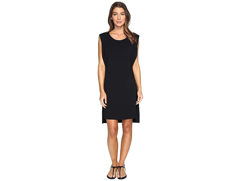 Mod-o-doc Cotton Modal Spandex Jersey Effortless Pleated Tank Dress (Black) Women
