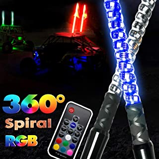 2pcs 3ft GTP Spiral LED Whip Lights 360° Twisted 20 Color RGB - 21 Modes Lighted Whips Antenna W/Flag for UTV ATV Polaris RZR Quad Off Road Jeep Can-am Maverick Yamaha Sand Dune Buggy 4X4