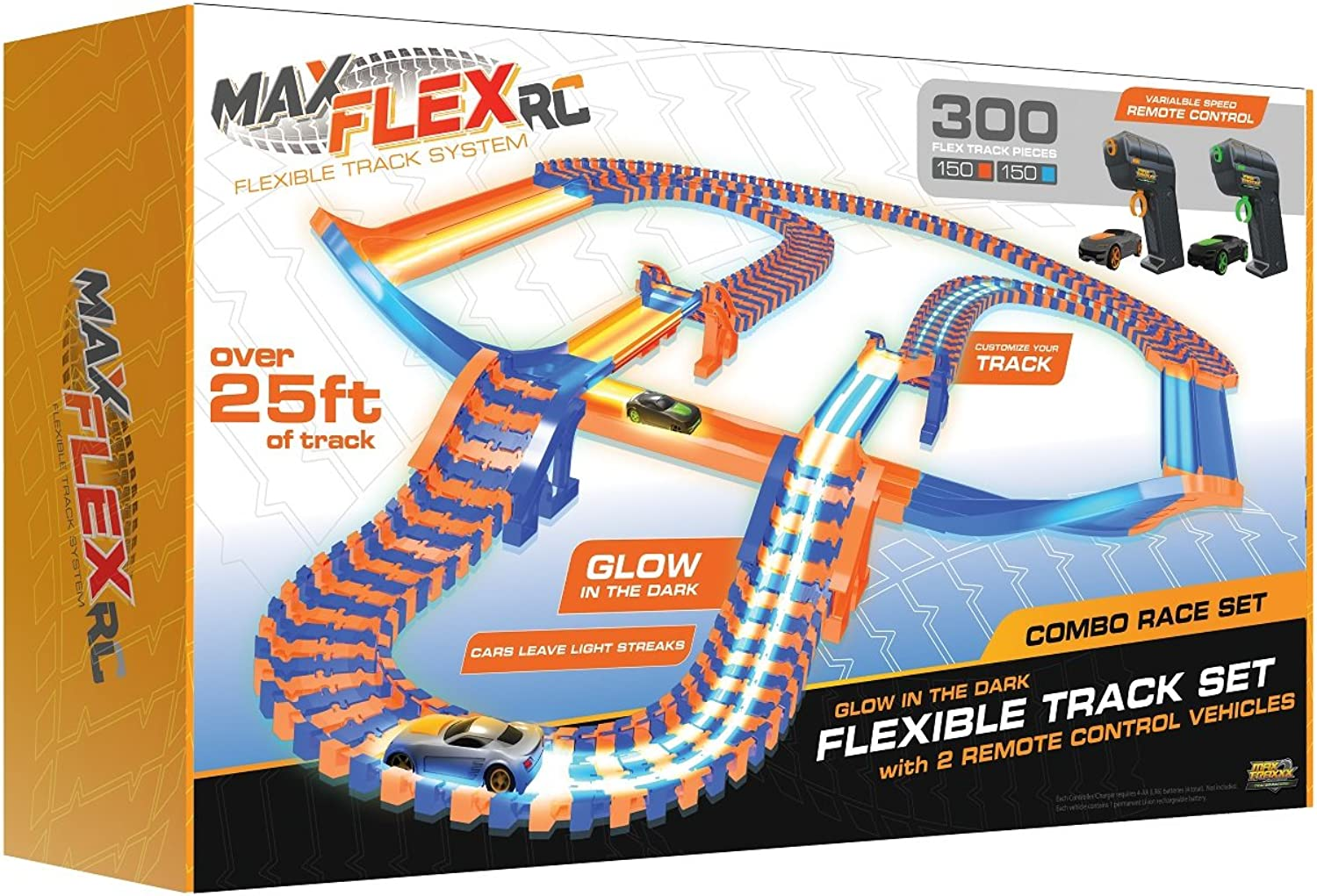 Max Flex Combo 300 Award Winning R C Light Trace Technology Glow in The Dark Flexible Track System with 2 1 64 Scale Remote Control Cars
