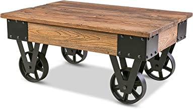 Rustic Country Coffee Table with Metal Wheels and Storage, TV Cabinet End Table for Living Room Bed Room (Brown)