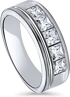 BERRICLE Rhodium Plated Sterling Silver Channel Set Princess Cut Cubic Zirconia CZ 5-Stone Anniversary Wedding Half Eternity Band Ring