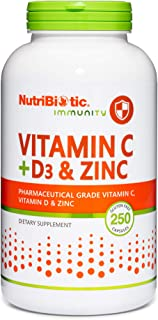 NutriBiotic – Vitamin C + Vitamin D3 & Zinc, 250 Capsules | Potent, Comprehensive Immune Support | Essentia...