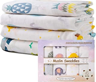 Kid Nation Baby Muslin Swaddle Blanket Unisex Swaddle Wrap Neutral Receiving Blanket Soft Cotton Towel, 47 x 47 Inches, Se...