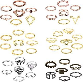 ONESING 25-120 Pcs Knuckle Rings for Women Stackable Rings Set Girls Bohemian Retro Vintage Joint Finger Rings Hollow Carv...