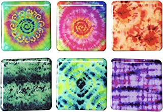 Tina's Essentials - Heavy Duty Magnets for Home, Office, School, or Leisure Setting, Refrigerator Magnet, Office Magnet, Colorful Tie Dye Design, 6 Piece Set of Square Magnets,