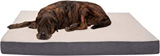Furhaven Pet Dog Bed - Deluxe Orthopedic Mat Sherpa and Suede Traditional Foam Mattress Pet Bed with Removable Cover for D...